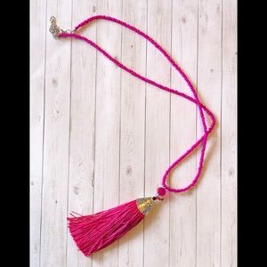 Jewelry - Long Hot Pink Tassel Necklace NWOT